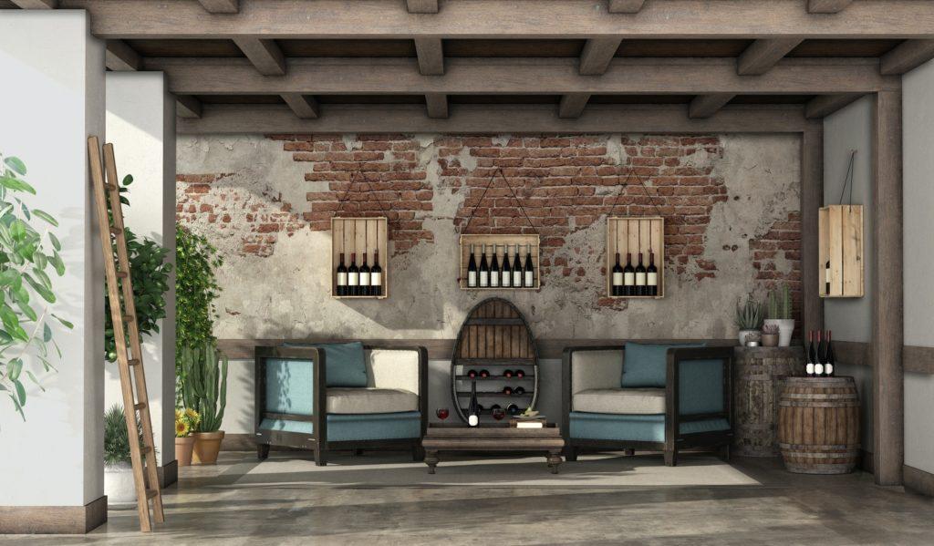 Rustic veranda for wine tasting